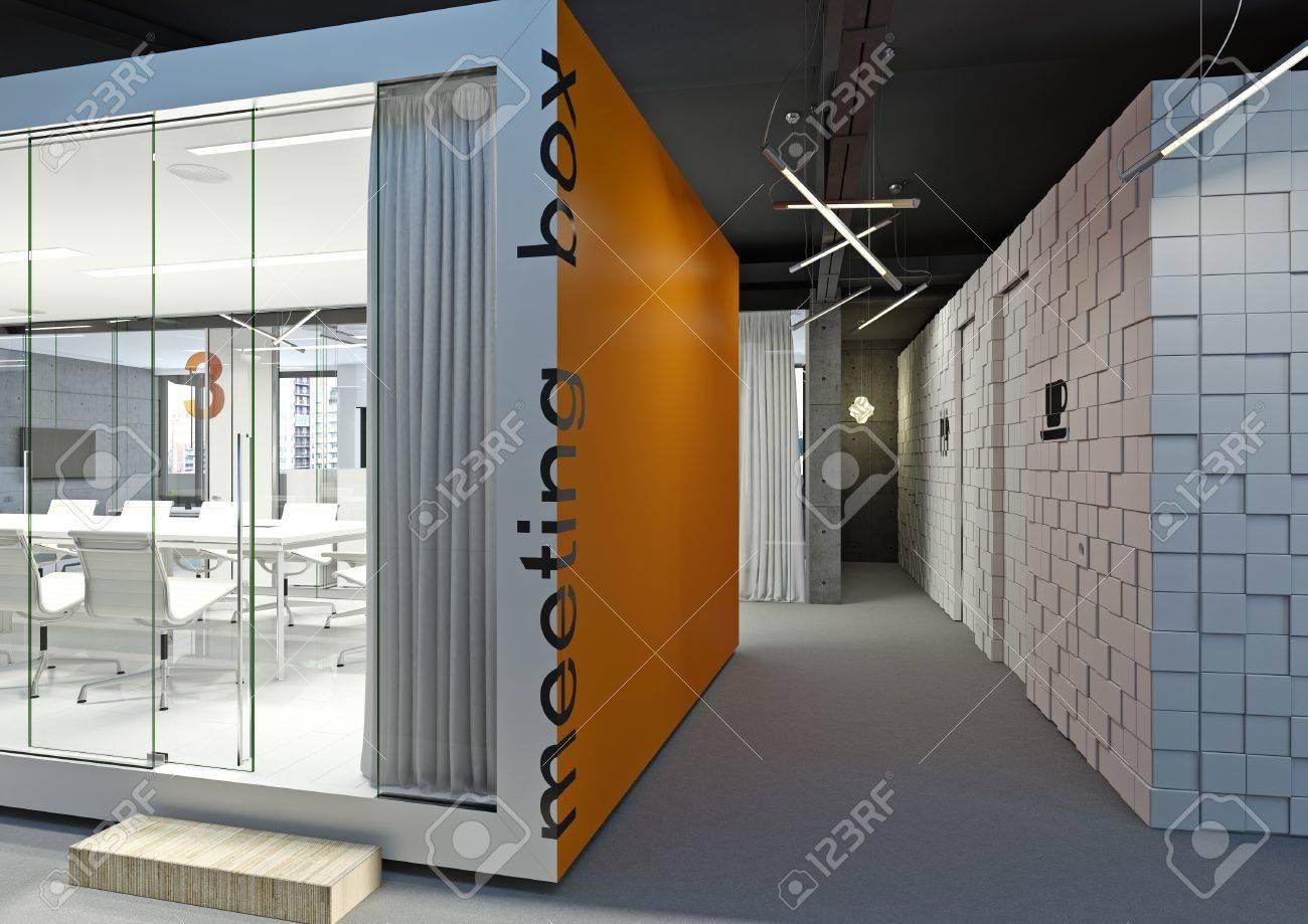 Salle de réunion de bureau moderne dans la couleur orange banque d