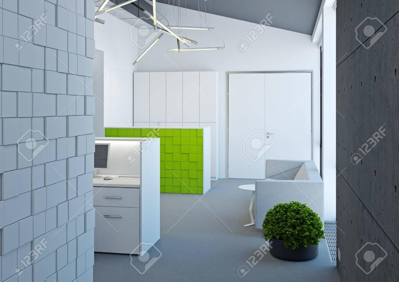 Réception de bureau moderne de couleur blanche banque d images et