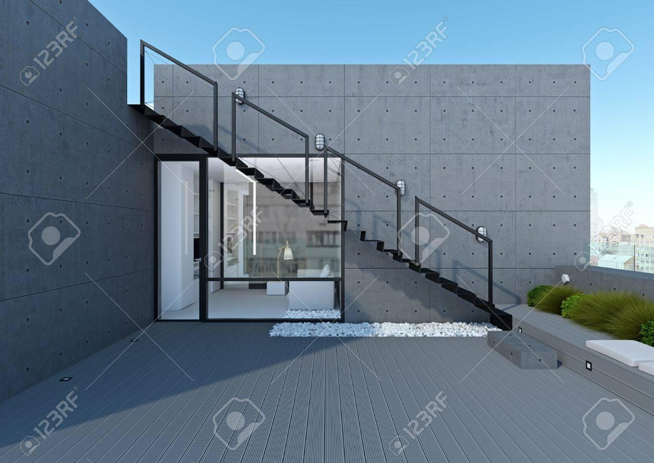 Ein Modernes Weisses Buro Mit Terrassen Und Freiflachen Lizenzfreie