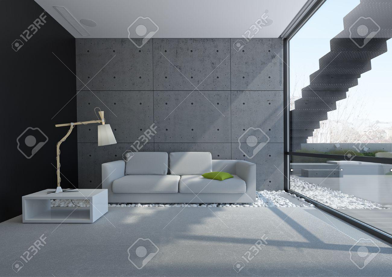 Salon contempopary avec mur en béton et galets sur l'application ...