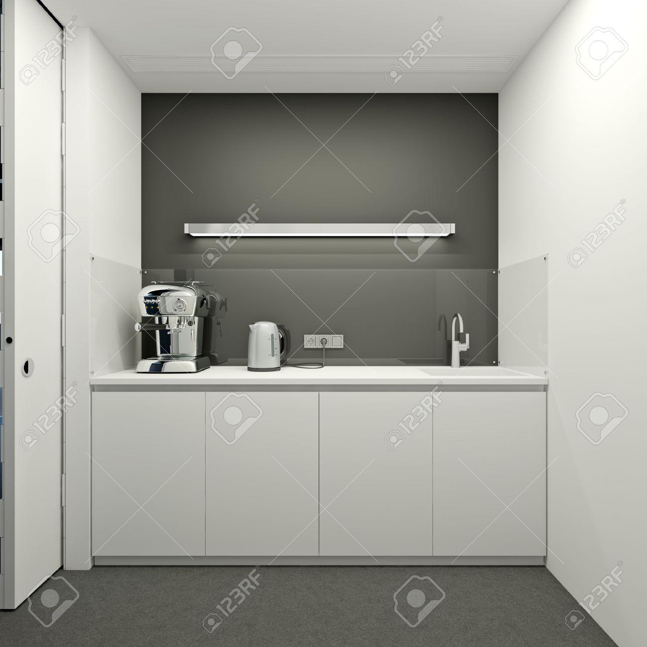Keuken In Een Modern Kantoor In De Kleur Wit Royalty-Vrije Foto ...