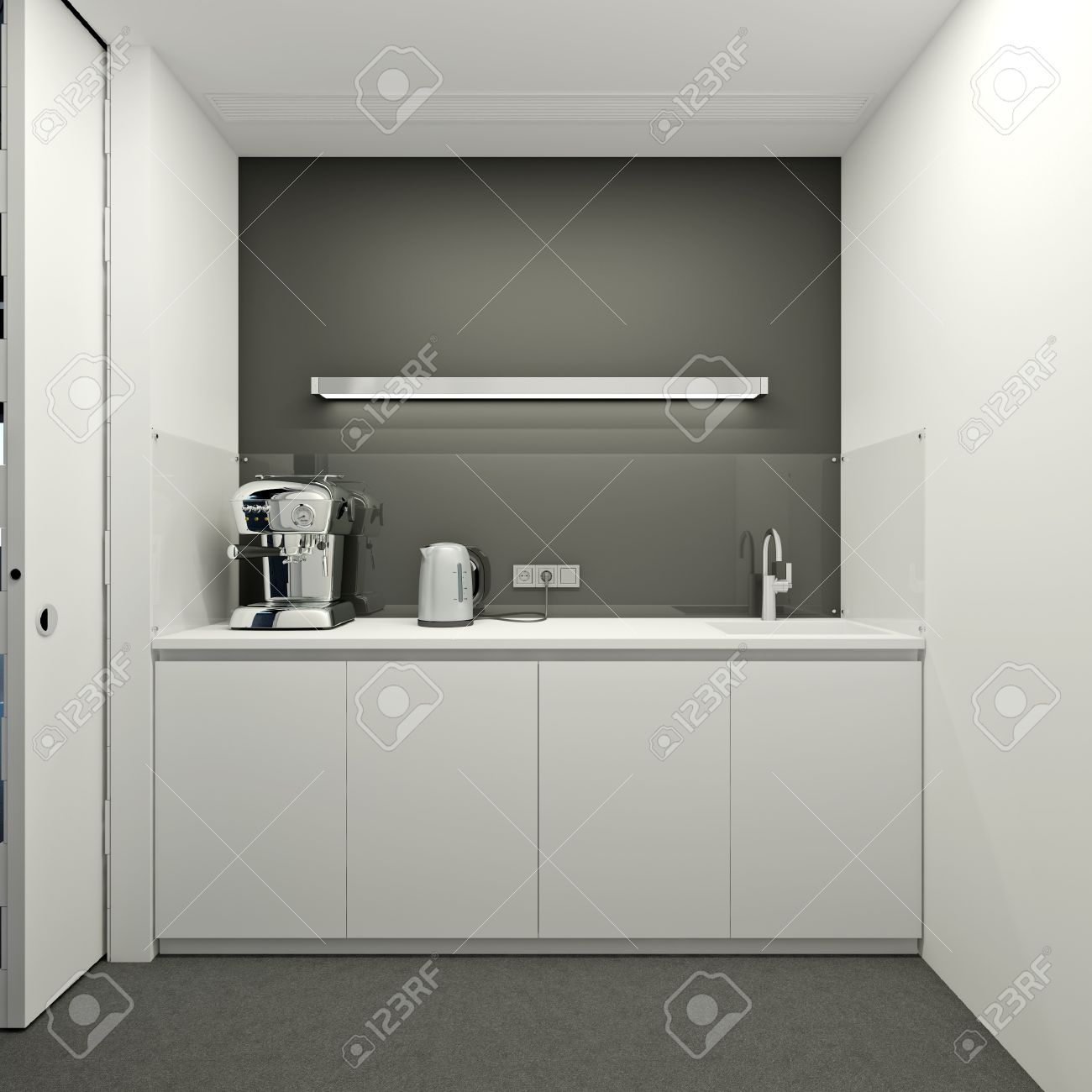 white modern office. Kitchen In A Modern Office White Color Stock Photo - 15136185