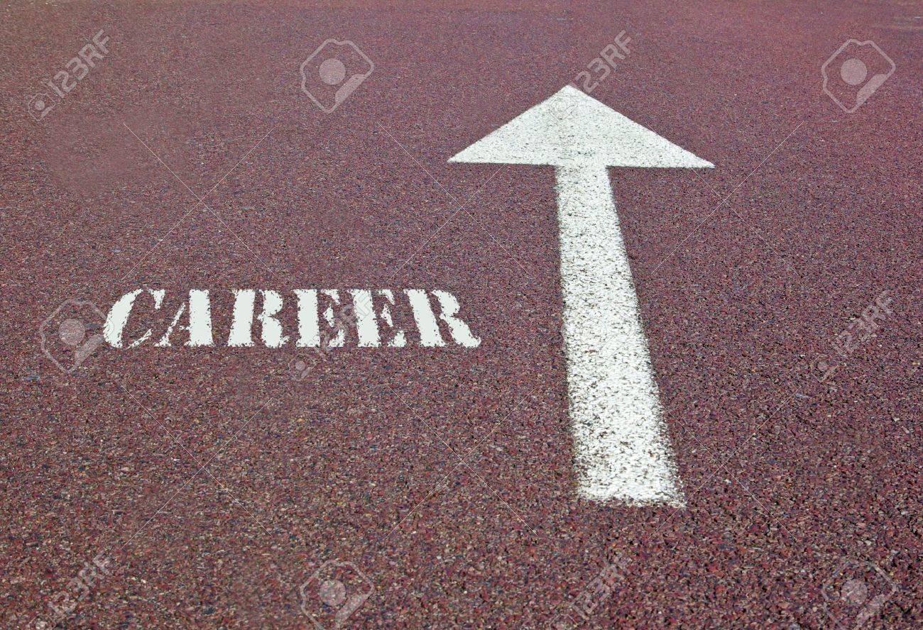 Ein Pfeil Auf Dem Asphalt Die Die Richtung Für Eine Karriere Machen