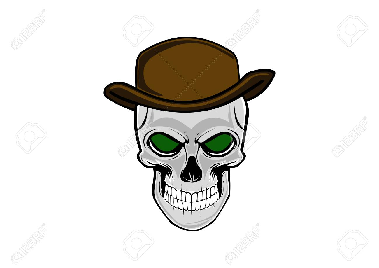 427d2ba1bb15c Cowboy Skull Wearing A Stylish Brown Hat Royalty Free Cliparts ...