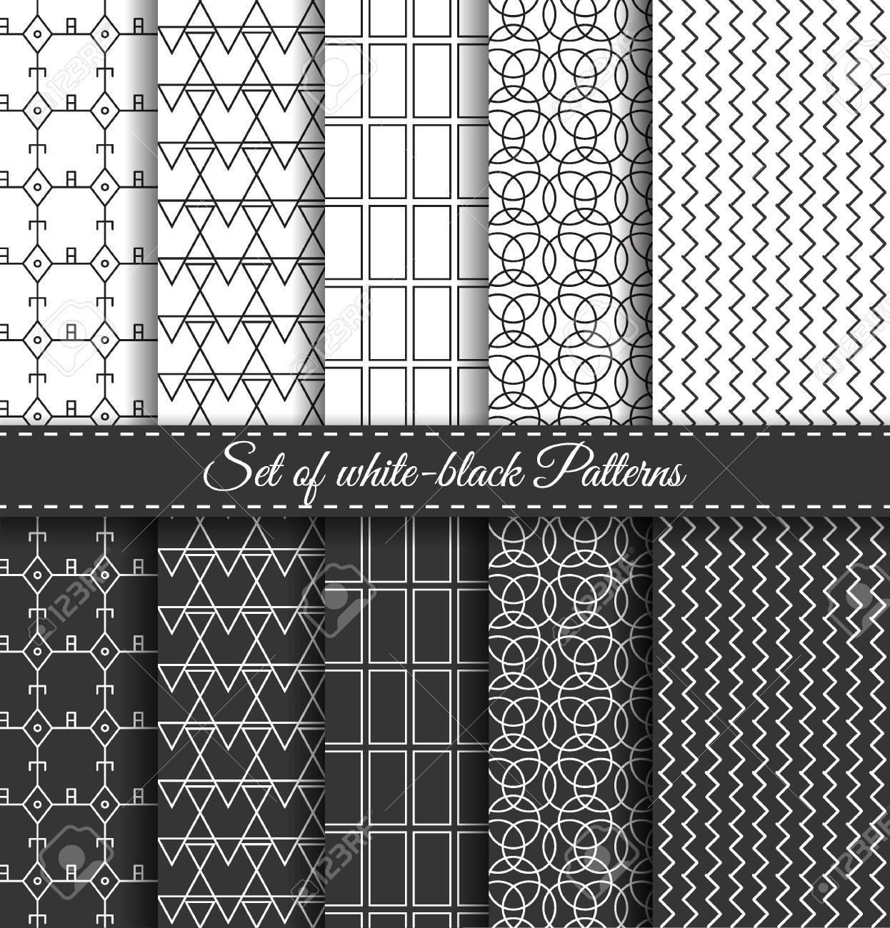 Ensemble De Noir Blanc Abstrait Rayures Lineaires Motif Geometrique Papier Cadeau Papier Pour Scrapbook Vintage Raye Hippie Texture Graphique