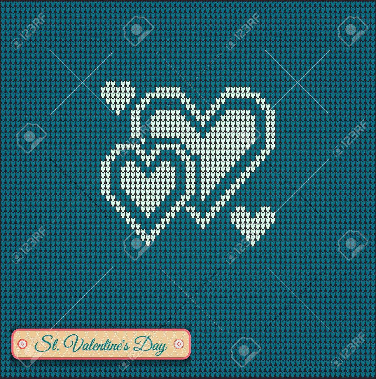 Classic Knitted Pattern With Hearts. Valentines Day Banner, Knitting ...