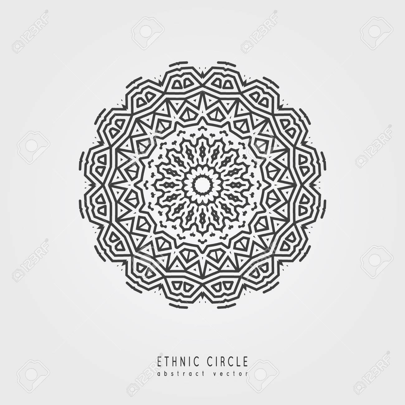 9450039927759 Ethnic mystical pattern with triangle and circles. Mandala Ethnic circle  ornament. Stock Vector -