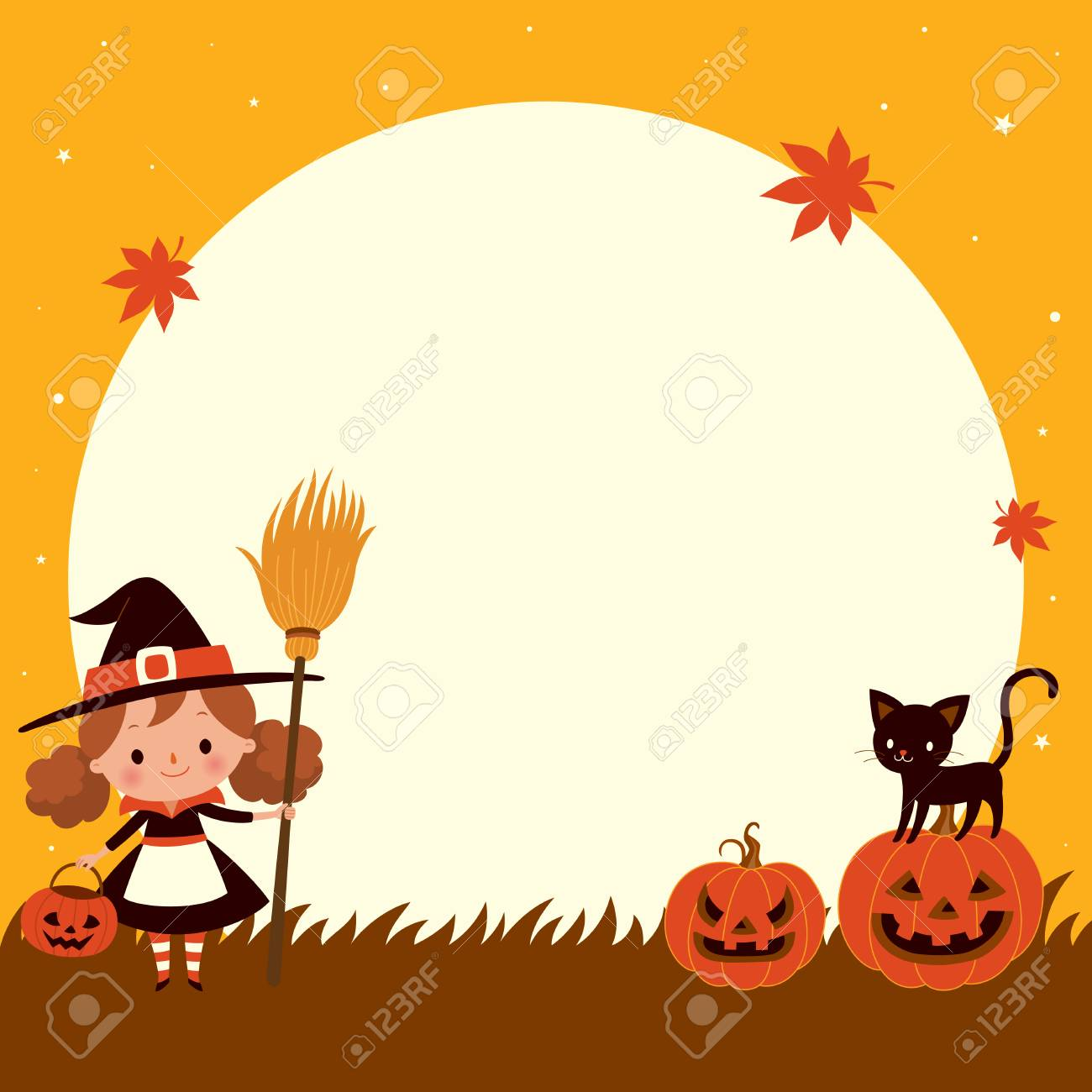 halloween cute little witch with cat. happy halloween background
