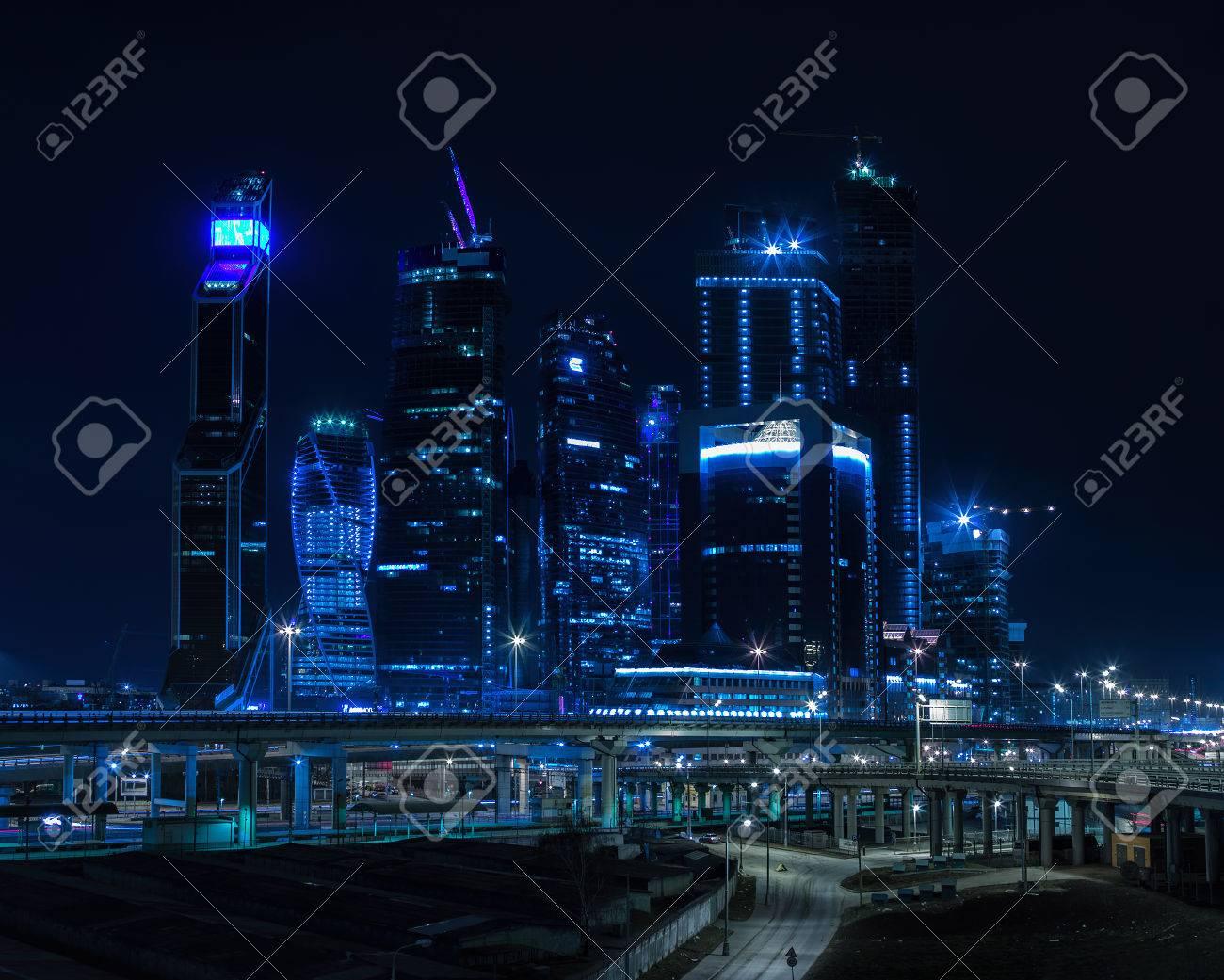 Immagini Stock Orizzontale Vivido Blu Notte Mosca Città Centro