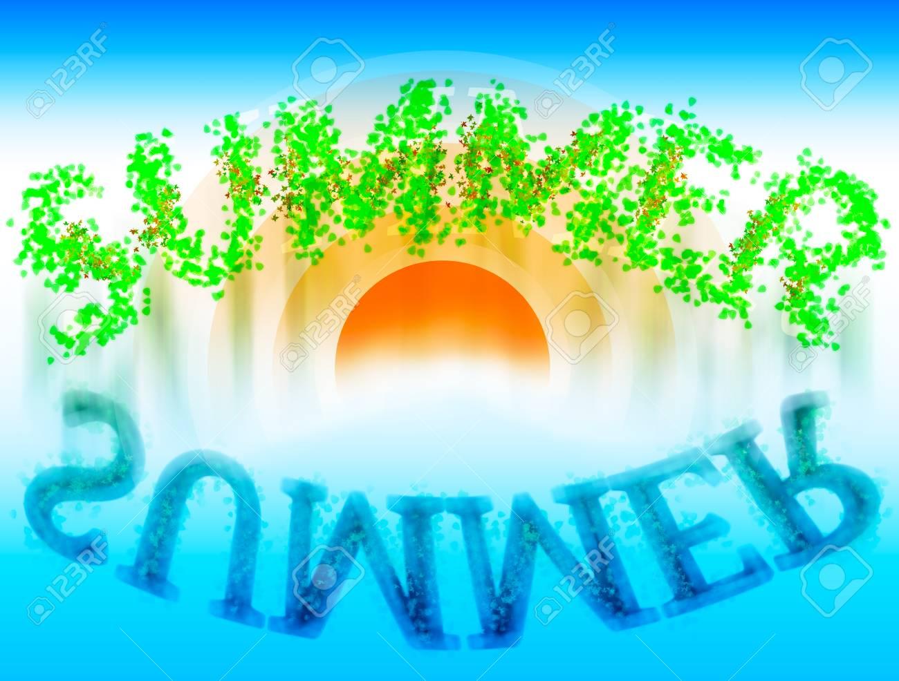 水反射イラスト背景夏単語 ロイヤリティーフリーフォト、ピクチャー