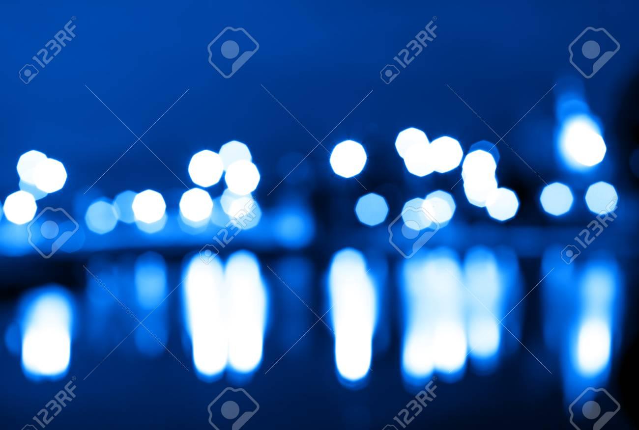 Immagini Stock Luci Della Città Di Notte Bokeh Con Riflessi Sfondo