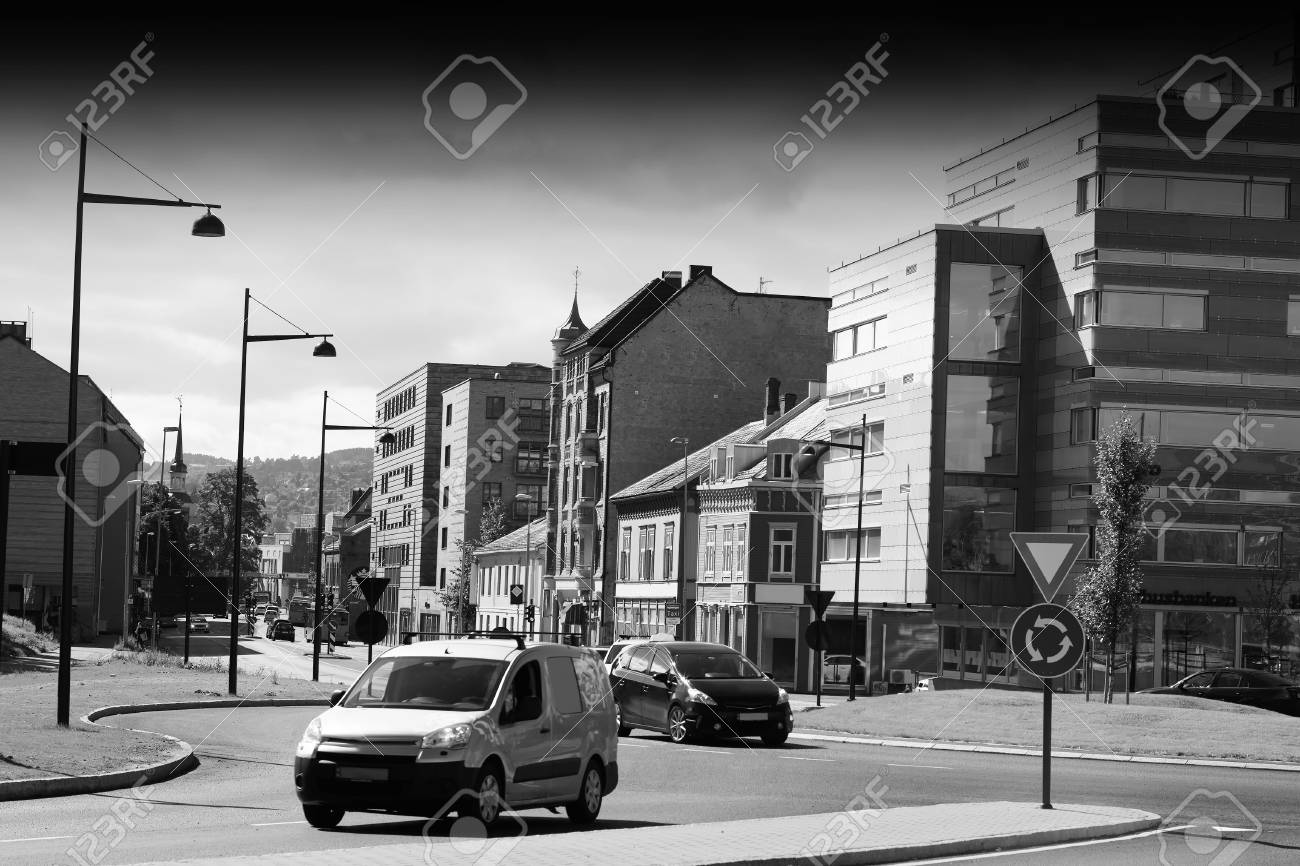 Norway Black And White City Streets Background Hd Stock Photo
