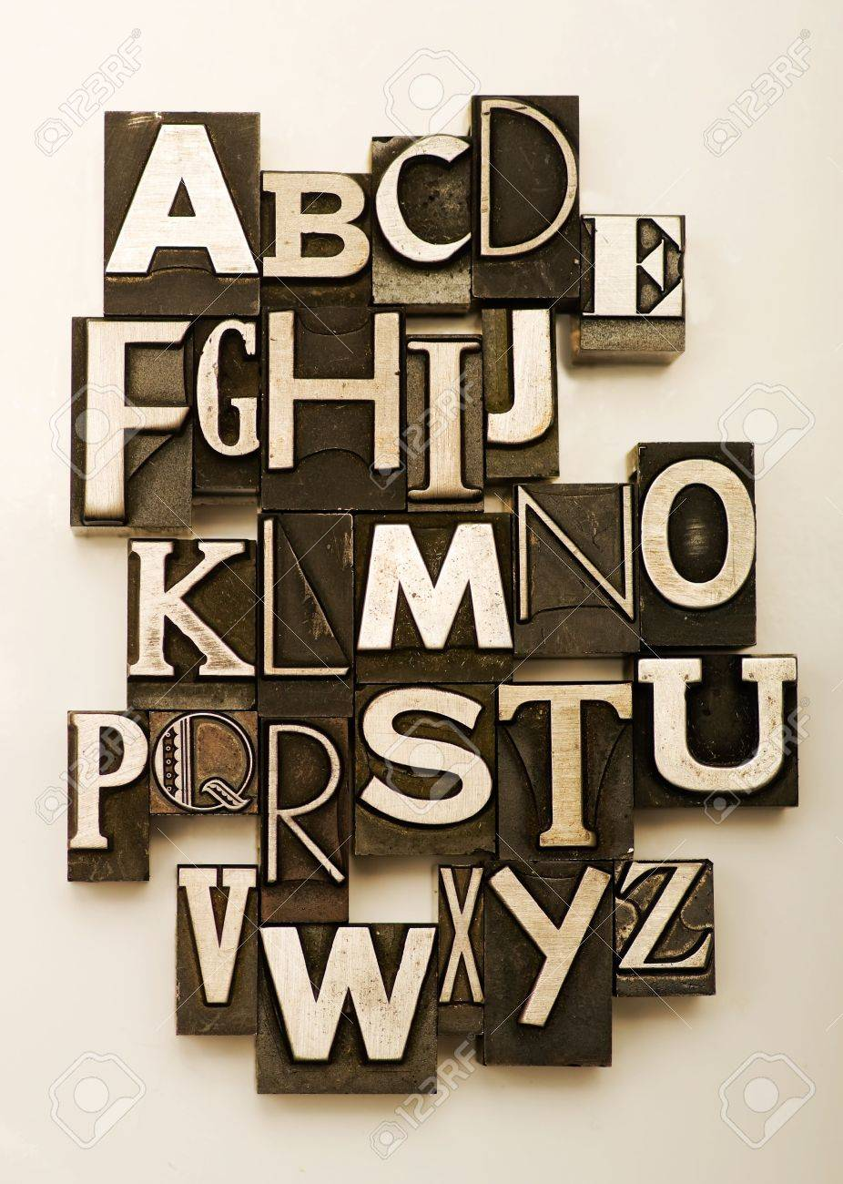 Alphabet photographed using a mix of vintage letterpress characters. Cross-proccessed for a vintage look. Stock Photo - 3440600
