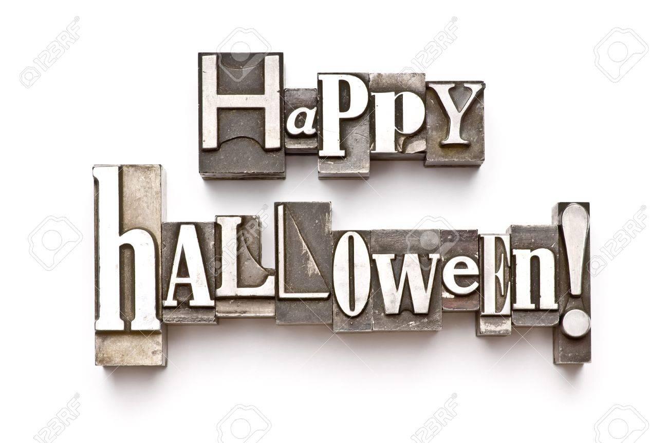 The phrase Happy  done in letterpress type Stock Photo - 3593499