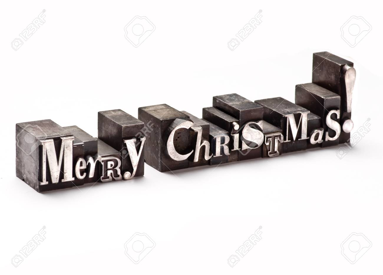 The phrase Merry Christmas in letterpress type Stock Photo - 3593465