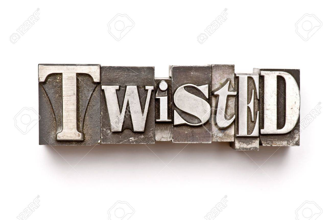 The word Twisted done in letterpress type Stock Photo - 3593507