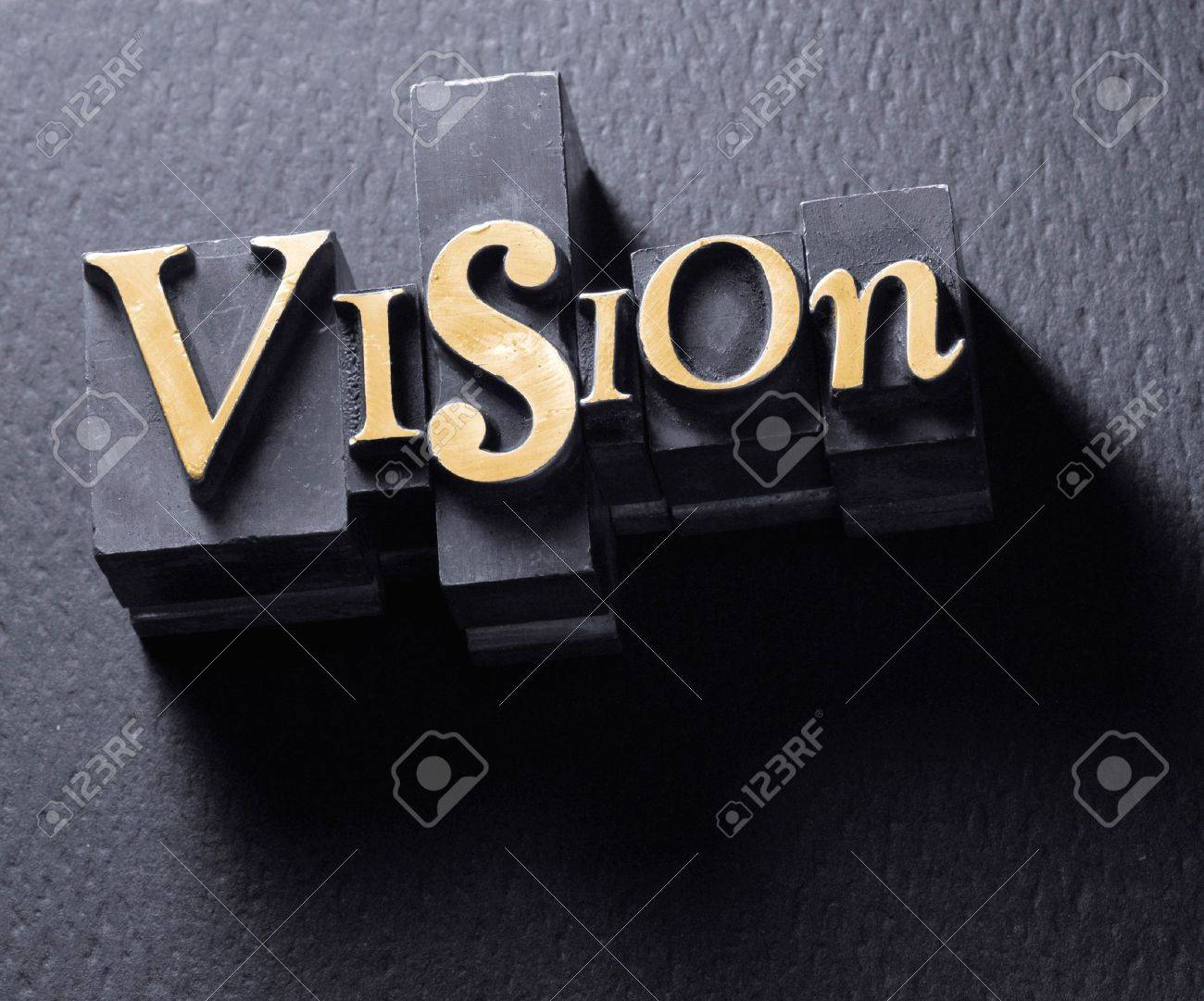 The word Vision in Letterpress Type Stock Photo - 4015513