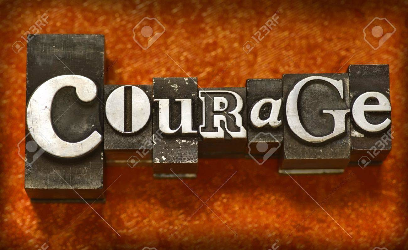 The word Courage in letterpress type Stock Photo - 4017548