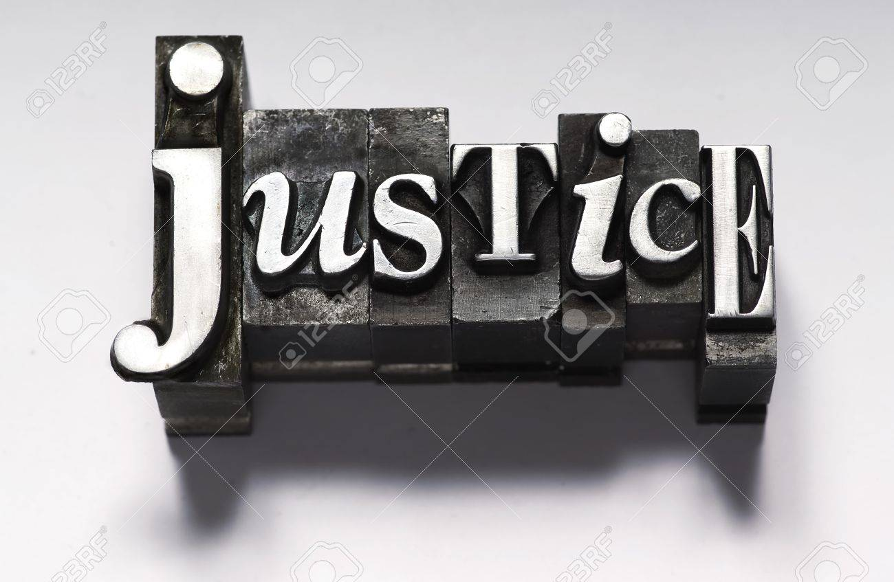The word Justice in letterpress type Stock Photo - 4017525