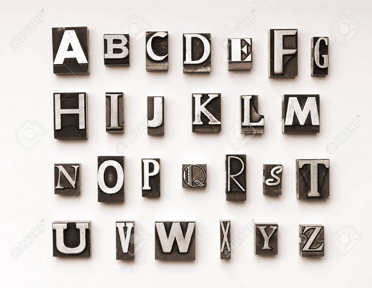 Alphabet photographed using a mix of vintage letterpress characters. Cross-proccessed for a vintage look. Stock Photo - 4065786