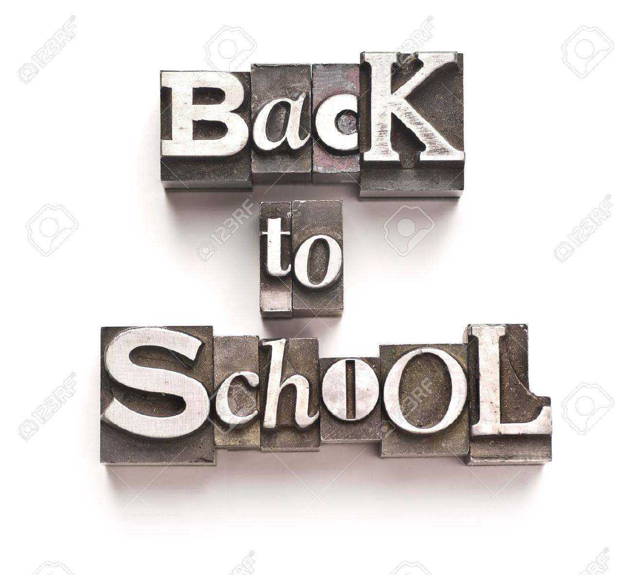 The phrase Back to School done in vintage letterpress type Stock Photo - 4065964