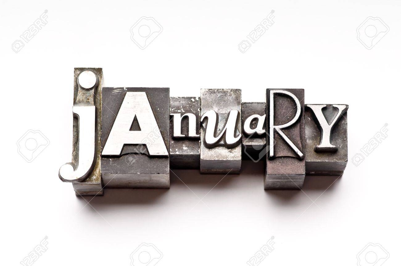 The month of January done in vintage letterpress type Stock Photo - 4065980