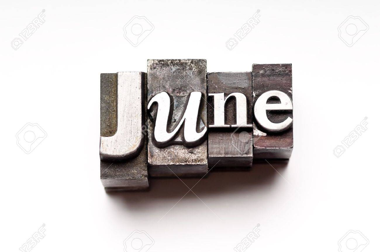 The month of June done in vintage letterpress type Stock Photo - 4066006