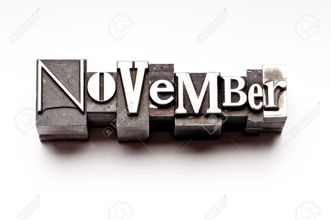 The month of November done in vintage letterpress type Stock Photo - 4066002