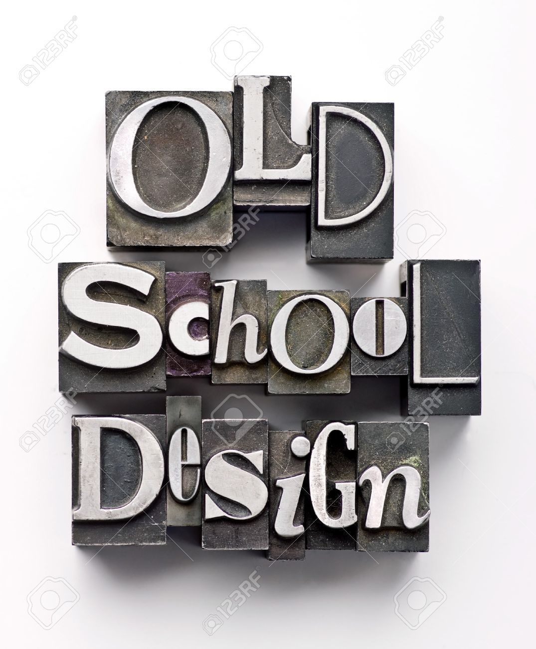 The words Old School Design done in vintage letterpress type Stock Photo - 4066040