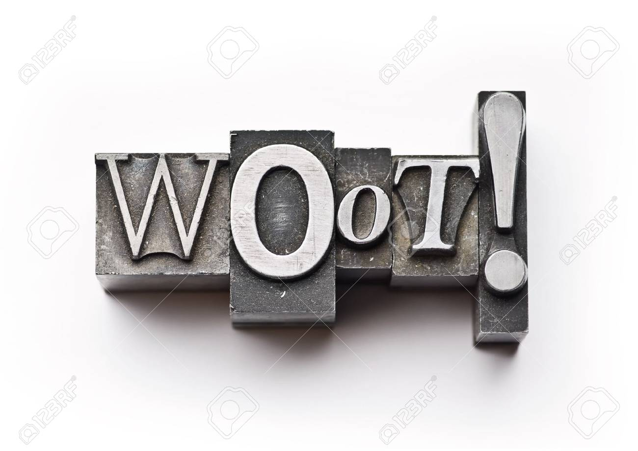 The word Woot done in letterpress type Stock Photo - 4065988