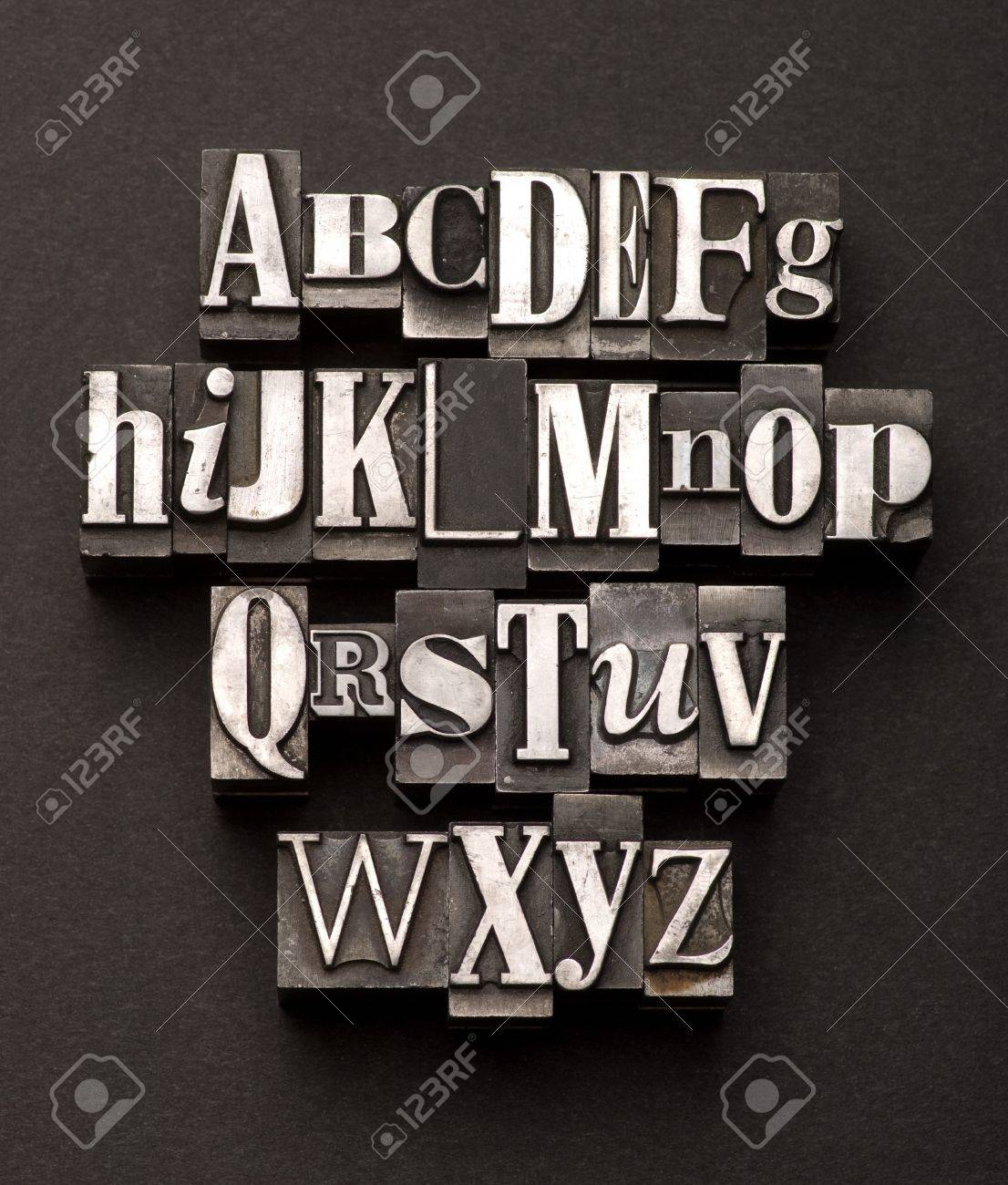 Alphabet photographed using a mix of vintage letterpress characters on a black, textured background. Stock Photo - 4105107