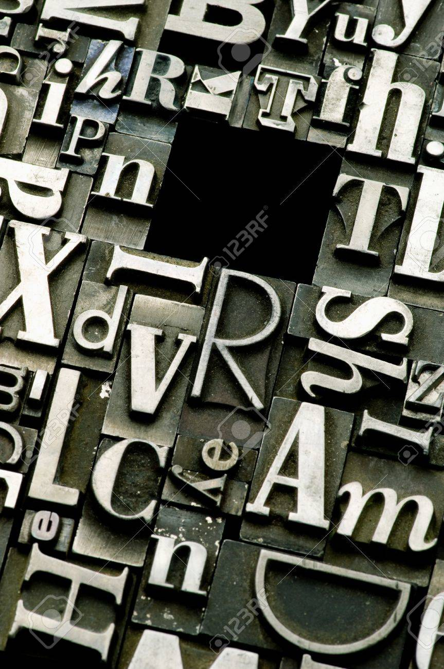A selection of random letterpress type characters with copy space Stock Photo - 4137600