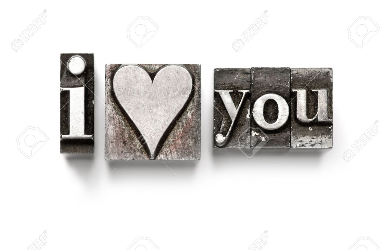 I Love You photographed using vintage letterpress type Stock Photo - 4137553