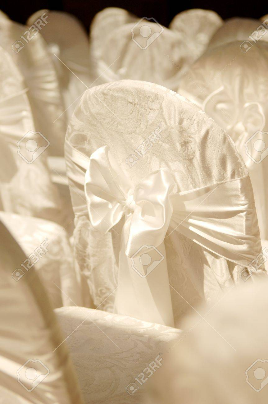 Photo of a wedding chair cover, shallow focus. Stock Photo - 4161739