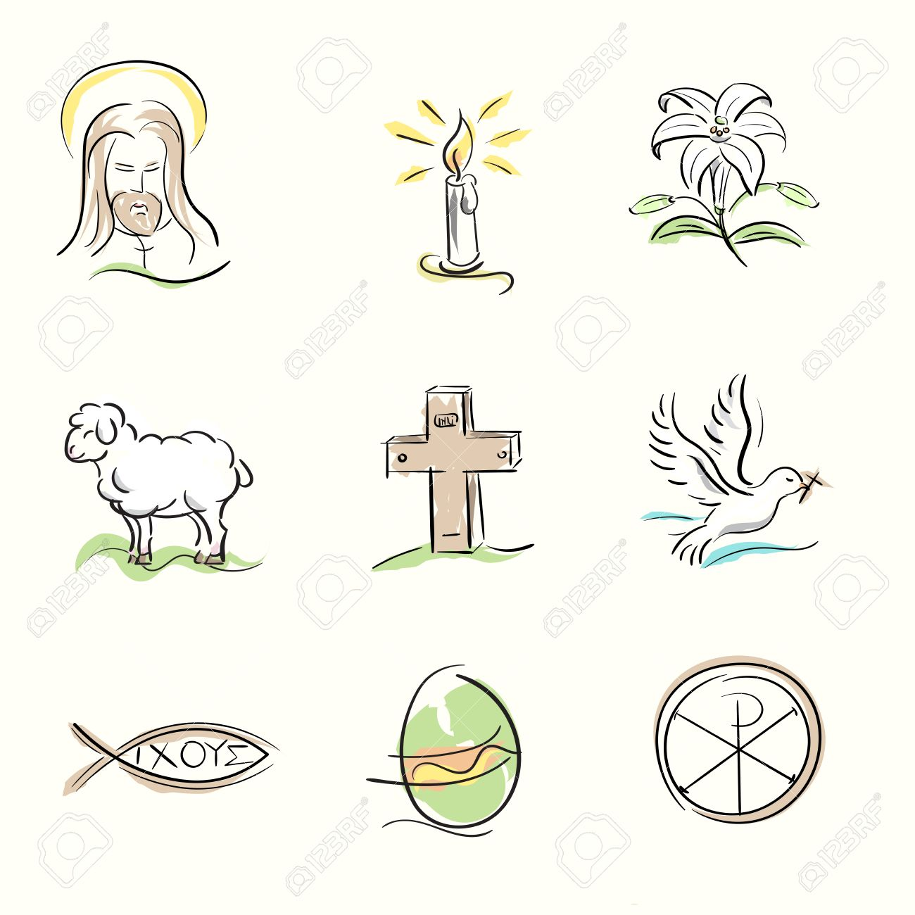 Set of easter christian symbols and spring hand drawn set of easter christian symbols and spring hand drawn illustrations stock vector 37440267 biocorpaavc