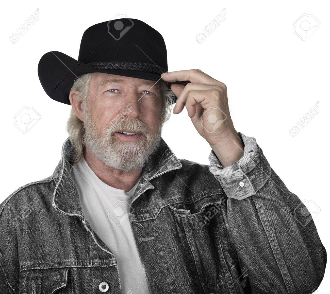 Handsome Mature Man Wearing A Gray Jeans Jacket And Black Felt