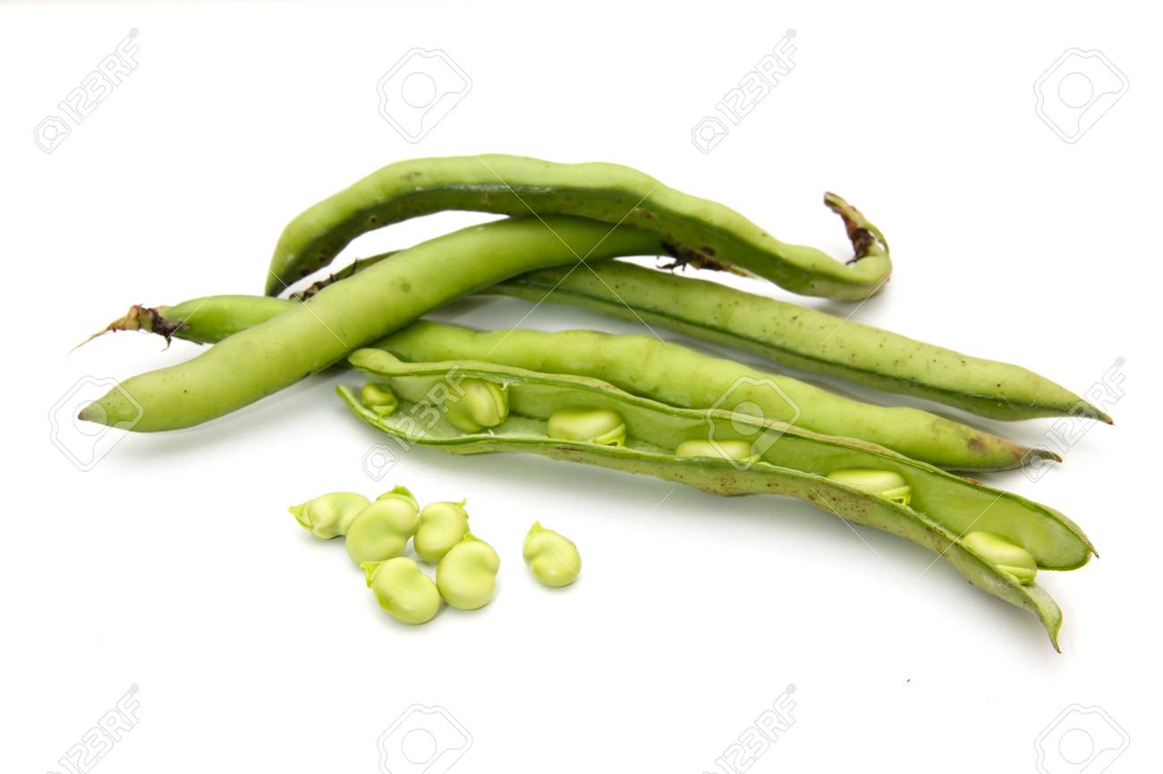Fresh broad beans on a white Stock Photo - 27831224