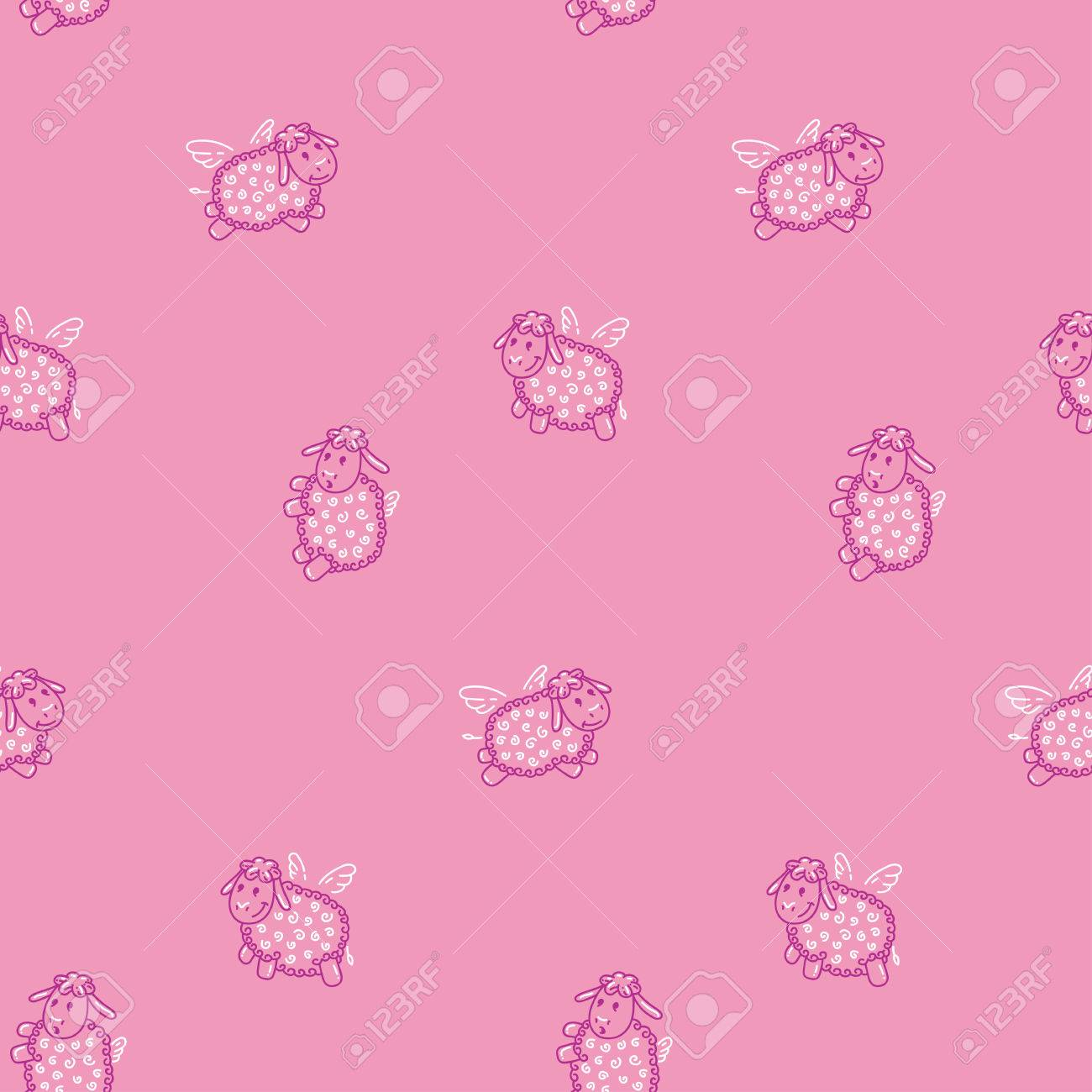 Children\'s pattern with animals. Flying sheep. Light and beautiful..