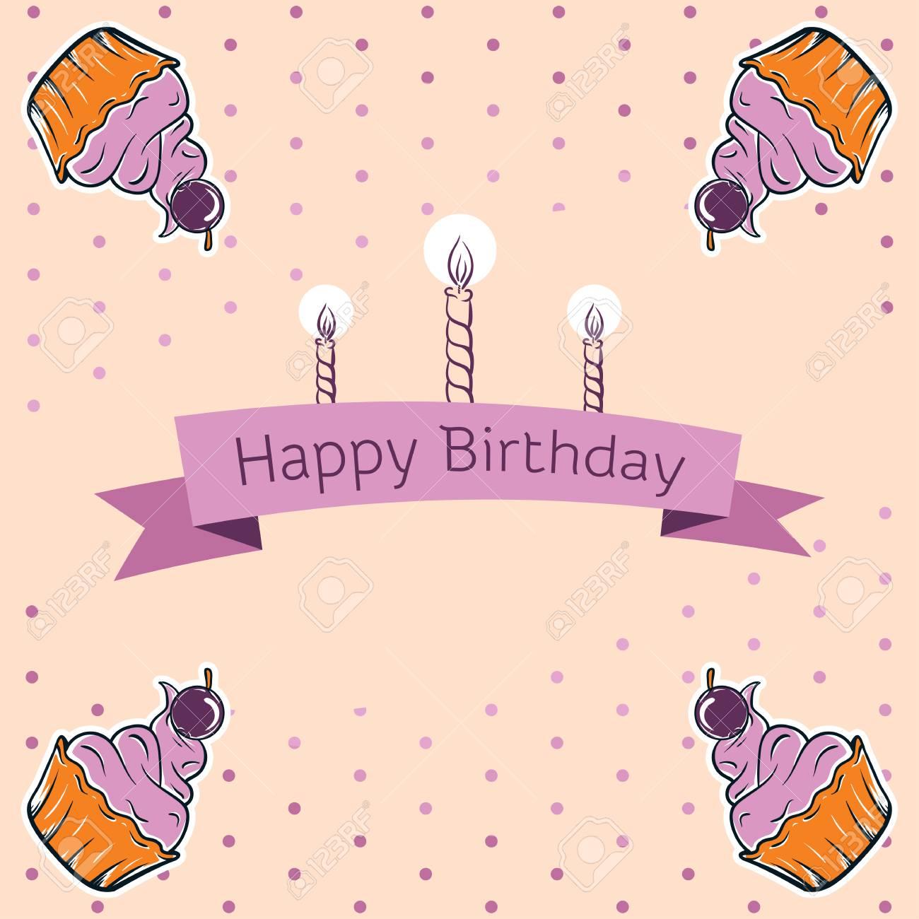 Happy Birthday Card Design Vector Illustraton Cute Greeting