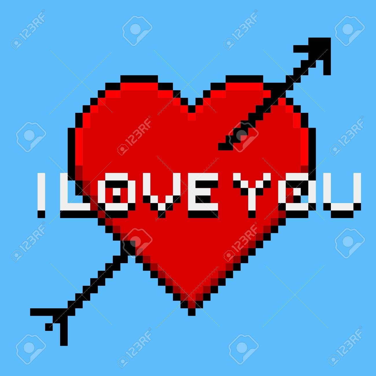 Pixel Art Coeur I Love You