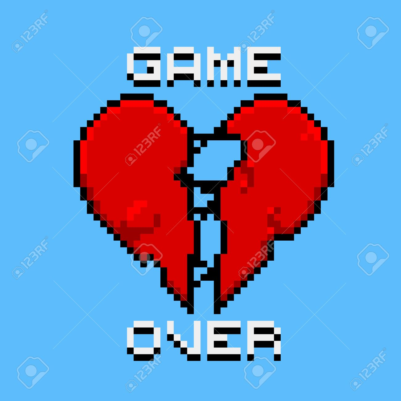 Game over, love is dead, broken heart, a dead player retro pixel