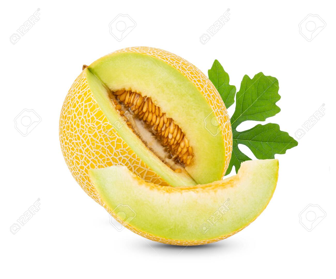 Yellow Cantaloupe Melon With Leaf Isolated On White Background Stock Photo Picture And Royalty Free Image Image 128228446 Cantaloupe flavor depends upon environmental conditions. yellow cantaloupe melon with leaf isolated on white background
