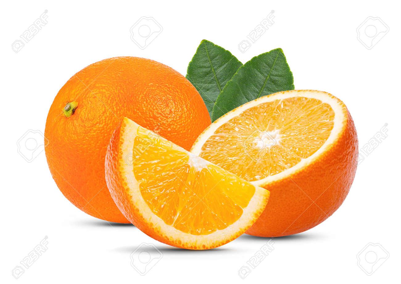 orange fruit with leaf isolated on white background . full depth of field - 128359790