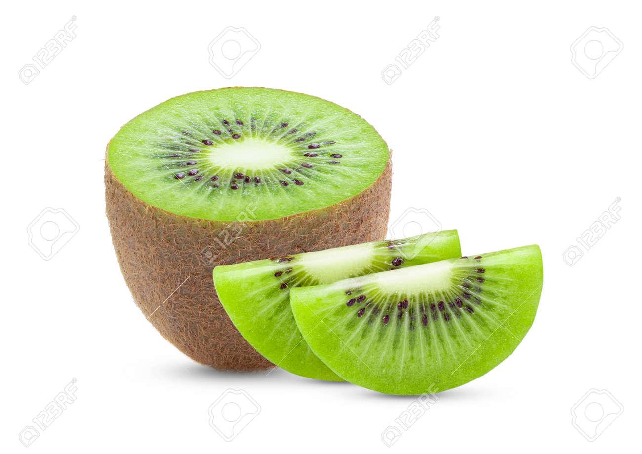 slice kiwi fruit isolated on white background - 151022084