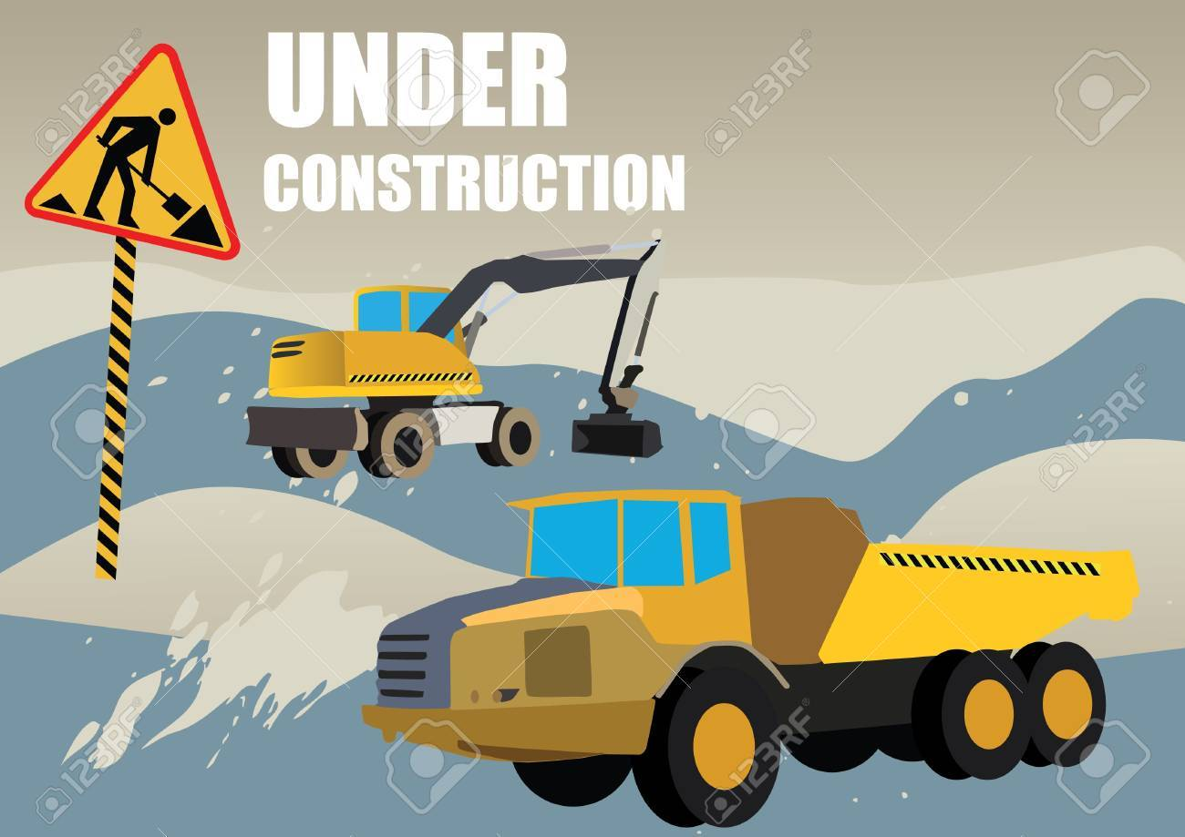 road works vehicles on boring background Stock Vector - 9934418