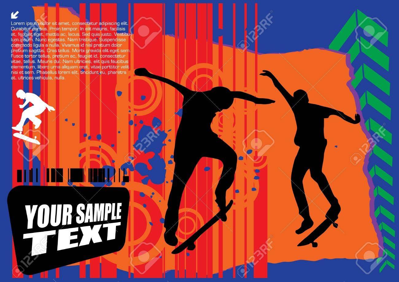 grunge skateboarding vector Stock Vector - 10009546