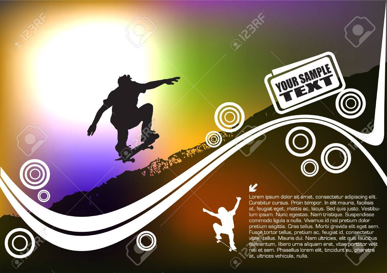 skateboard abstract background Stock Vector - 10090241