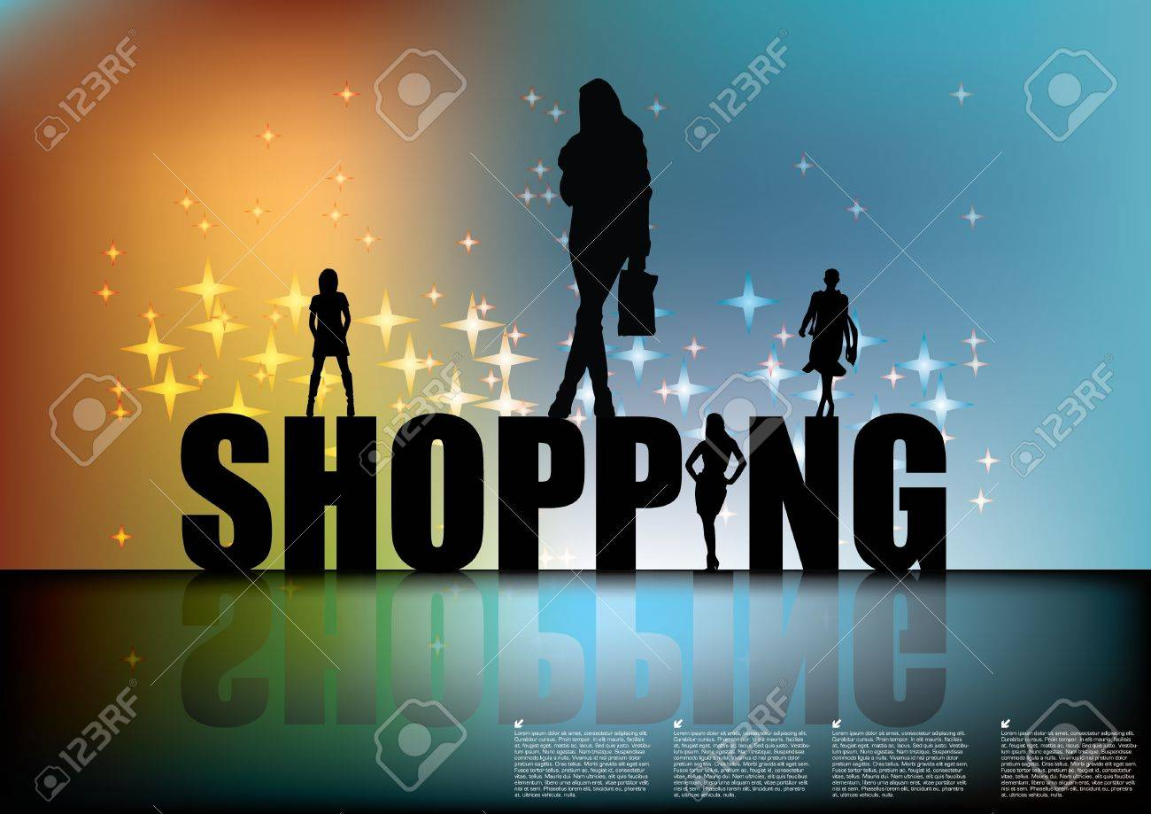 shopping sign with women silhouettes Stock Vector - 10202416