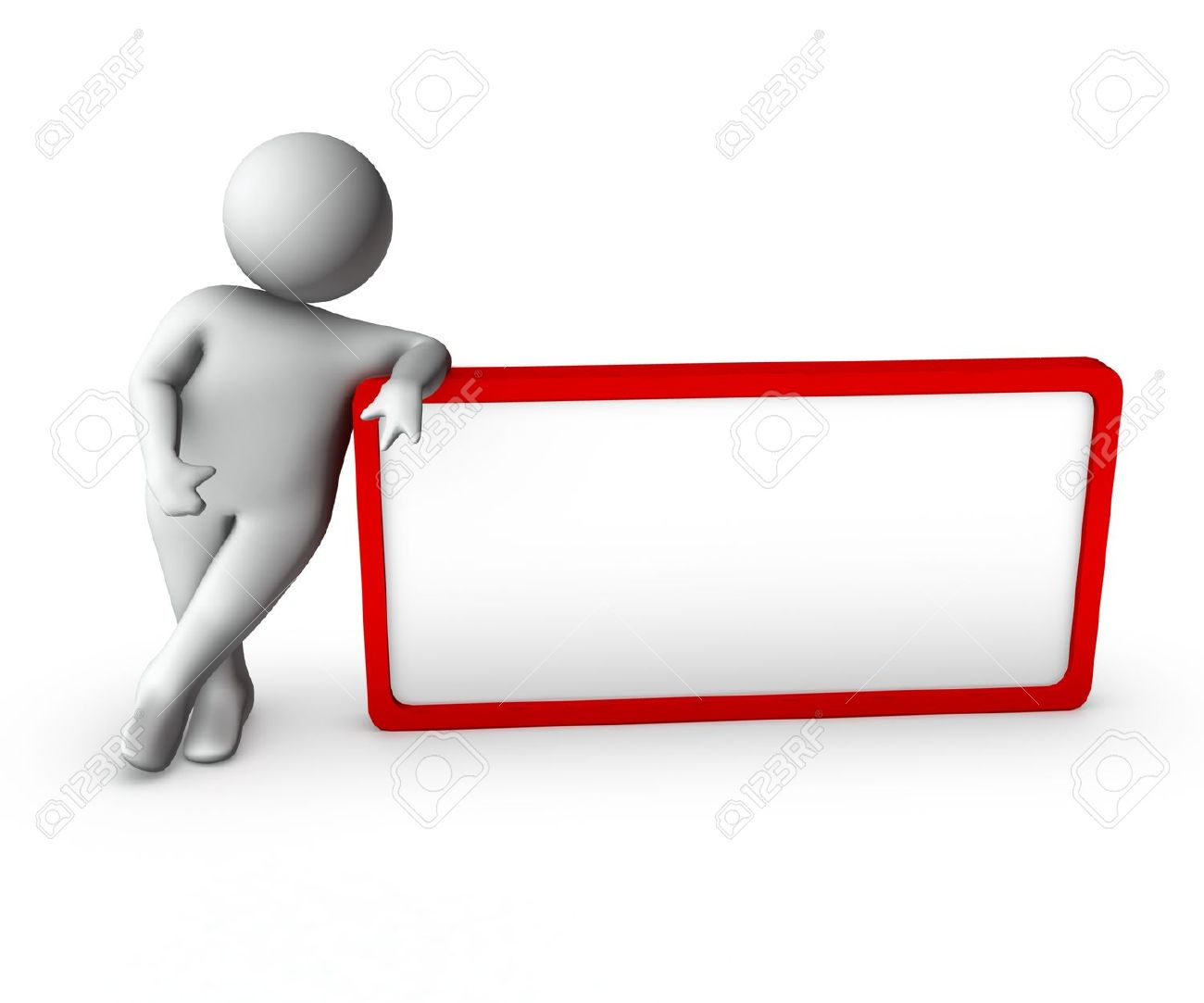 3d man with blank frame Stock Photo - 10260368