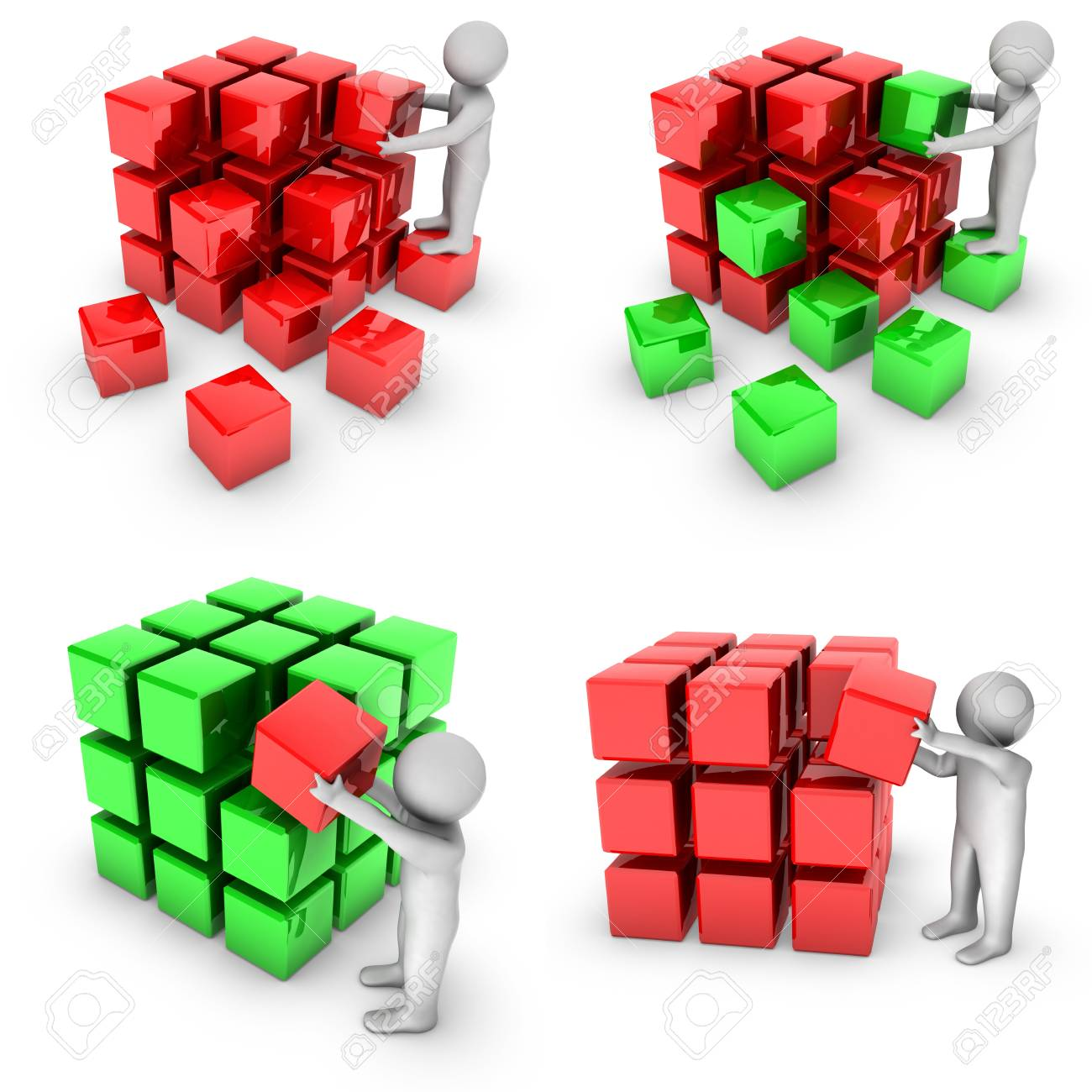 set of 3d man with shiny blocks Stock Photo - 10467966